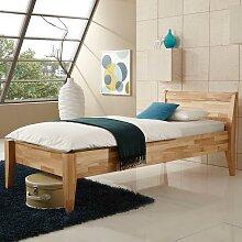Bett für eine Person Kernbuche Massivholz