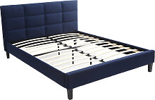 Bett für Erwachsene 160 x 200 cm Dunkelblau EMERY
