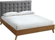 Bett für Erwachsene Skandinavisch Holz und Stoff