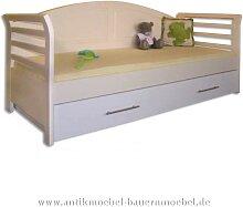 Bett Gästebett Bettsofa 90x200 Weichholz weiß