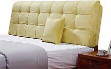 Bett große Kissen abnehmbare und waschbare Doppelbett Back Kissen Lendenwirbelstütze Bedside Rückenlehne, gelb ( größe : 190*58cm )
