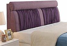 Bett große Kissen abnehmbare und waschbare Doppelbett zurück Kissen Lendenwirbelstütze Bedside Rückenlehne, lila ( größe : 180*60cm )