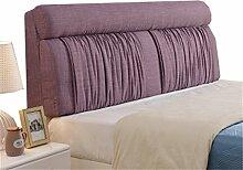 Bett große Kissen abnehmbare und waschbare Doppelbett zurück Kissen Lendenwirbelstütze Bedside Rückenlehne, lila ( größe : 155*60cm )