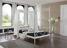 Bett, Himmelbett, Metallbett, Futonbett, Komfortbett, Komplettbett, Liegefläche 120 x 200 cm, weiß, Rollrost, Matratze schwarz
