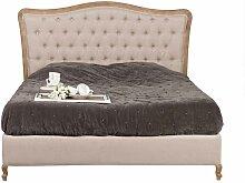 Bett im Vintage Design Creme Weiß
