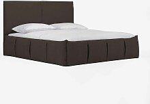 Bett in Braun Webstoff Überlänge