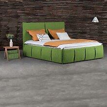 Bett in Grün Webstoff modern (3-teilig)