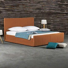 Bett in Orange Kunstleder