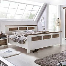 Bett in Weiß Braun Kiefer