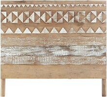 Bett-Kopfteil aus Recyclingholz mit Motiven, B