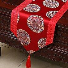 Bett Läufer Kabinett Läufer Idyllische Tischläufer Tischdecke Tee Tischdecke Tischset Lange Tischdecke Europäischen TV Schrank Abdeckung Handtuch (Farbe : Rot, größe : 33*150cm)