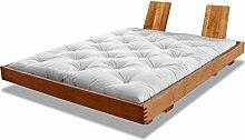 Bett Mailand Erle massiv Futonbett von Futononline 120 x 200 cm, Erle Kirsche hell gebeizt, Lehne Retta