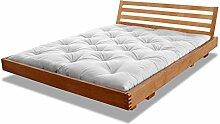 Bett Mailand Erle massiv Futonbett von Futononline 120 x 200 cm, Erle Kirsche hell gebeizt, Lehne Grata