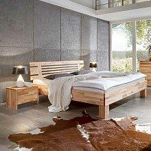 Bett mit 2 Nachtkonsolen Kernbuche Massivholz (3-teilig)