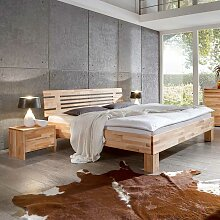 Bett mit 2 Nachtkonsolen Kernbuche Massivholz