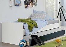 Bett mit Ausziehliege in Alpinweiß mit Absetzungen in Anthrazit, Liegefläche 90 x 200 cm, Maße B/H/T ca. 95/58/204 cm