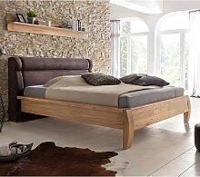 Bett mit Eiche furniert Polsterkopfteil in Braun