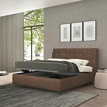 Bett mit einem Bettkasten Strauss Braun, Stoff mit