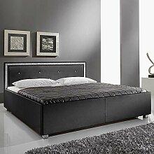 Bett mit Glitzersteinen Schwarz Breite 186 cm Liegefläche 180x200 Pharao24