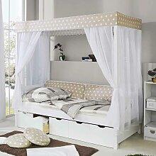 Bett mit Himmel Weiß Beige
