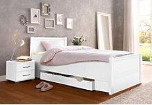 Bett, mit Komforthöhe weiß 100 cm x 208 cm x 85