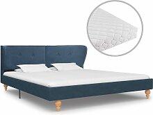 Bett mit Matratze Blau Stoff 160 x 200 cm