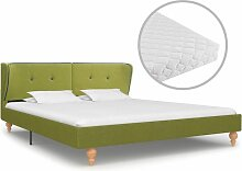Bett mit Matratze Stoff Grün 180x200cm