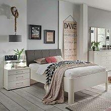 Bett mit Nachtkommode in Weiß Polsterkopfteil in