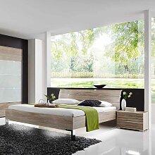 Bett mit Nachtkommoden in Eiche Sägerau modern