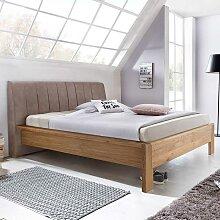 Bett mit Polsterkopfteil in Braun Eiche
