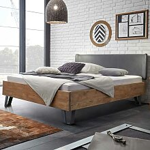 Bett mit Polsterkopfteil in Grau Wildeiche