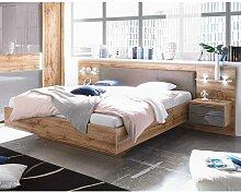 Bett mit Polsterkopfteil Wildeiche Grau