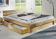 Bett mit Schubkästen 'Finn' 180x200cm Kernbuche massiv