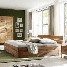 Bett mit Schubkasten Kernbuche massiv (3-teilig)