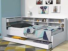 Bett mit Schubladen & Regal RENATO II - 90 x 190