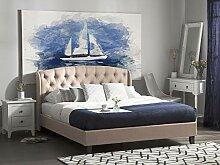 Bett Polsterbett beige mit Lattenrost 180x200 cm
