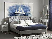 Bett Polsterbett hellgrau mit Lattenrost 180x200