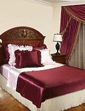 Bett-Rüschen, Leinen, Antik-Look, Violett