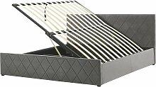 Bett Samtstoff Grau 180 x 200 cm Bettkasten