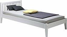 Bett SONJA Buche Einzelbett Bettgestell Holzbett weiß lackiert 90x200