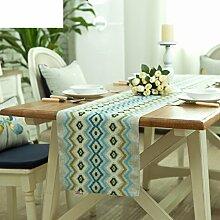 Bett-Tisch/Doppelte Leinen Stoff Baumwolle Tabelle Tischl?ufer-A 31x200cm(12x79inch)