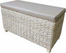 Bettbank Schlafzimmerbank Flurbank Schuhbank Sitzbank mit Aufbewahrung AufbewahrungshockerFaltbarer Aufbewahrungsbox aus natürlicher Wasserhyazinthe,mit Füße (70x30x40cm Kunstleder Beige)