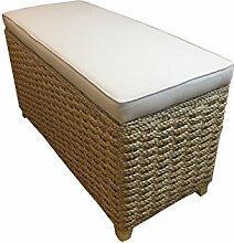 Bettbank Schlafzimmerbank Flurbank Schuhbank Sitzbank mit Aufbewahrung AufbewahrungshockerFaltbarer Aufbewahrungsbox aus natürlicher Wasserhyazinthe,mit Füße (70x30x40cm Plain cream)