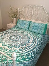 Bettbezug / & Uuml; berwurf Indisches Mandala, Dekoration, Hippie-Wandteppich, f & uuml; r Queensize-Bett, inkl. Kissenbezug