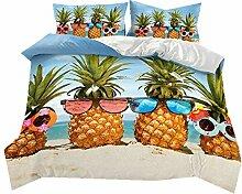 Bettbezug 135x200 Tropisch Pflanze Frucht Ananas
