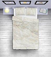 Bettbezug Bettwäsche Bettzeug aus Microfaser mit praktischem Reißverschluss 155 x 200 cm Kissen 2x 50 x 60 cm MARBLE (31956)