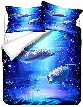 Bettbezug Bettwäsche Set 3 Teilig Blauer Delphin