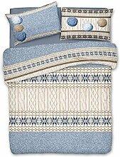 Bettbezug Einzelbett Baumwolle Strickgarn Knäuel von Wolle Farbe hellblau–Schneeflocke–Beutel Bettbezüge