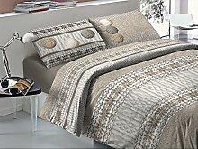 Bettbezug Einzelbett Baumwolle Strickgarn Knäuel von Wolle Farbe Beige Taupe–Schneeflocke–Beutel Bettbezüge