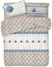 Bettbezug mit Kissenbezug Single aus Baumwolle–Knäuel in Love Knäuel von Wolle Farbe blau 'Avio–Herzen Herzchen Herzen Herz–Beutel Bettbezüge–Geschenk–Mitbringsel